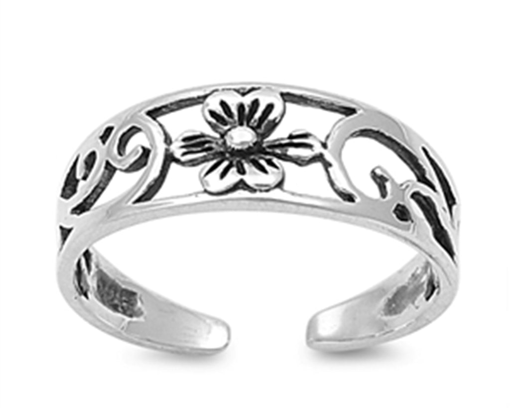 .925 Sterling Silver Adjustable Toe Ring - Flower  6mm