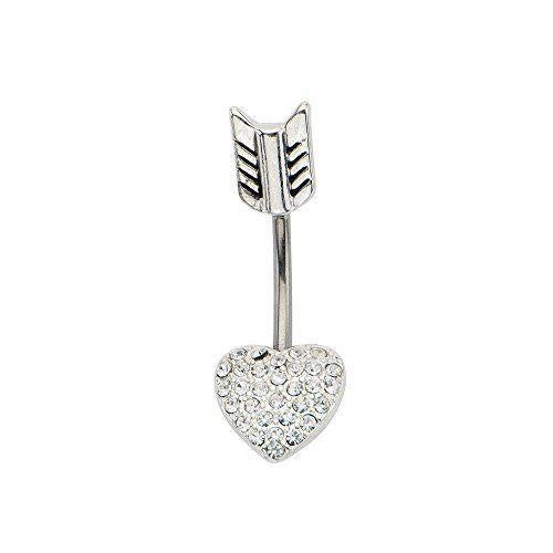 Belly Button Ring Navel Split Heart Arrow 316L surgical steel Body Jewelry