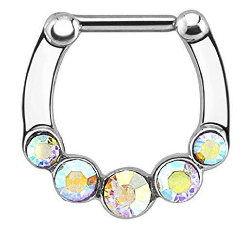 Five Gems 316L Surgical Steel Bar Septum Clicker (AB) [Jewelry]