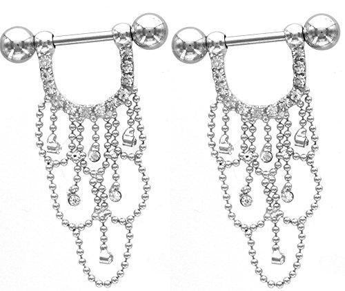 Nipple Shield Rings barbell barbells chandelier sold as a pair 14 gauge