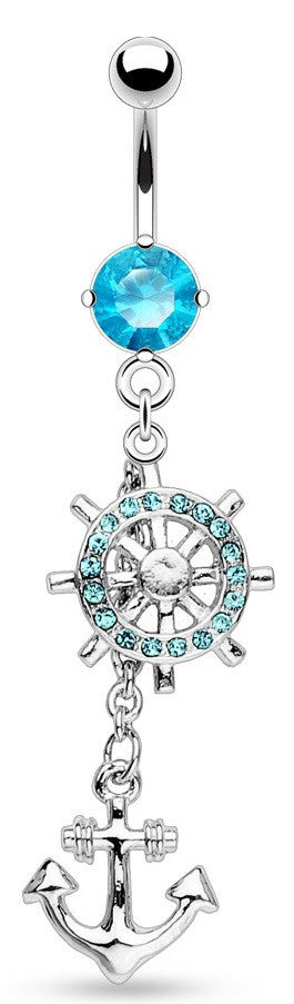 Belly Button Ring Wheel and Anchor Gem Paved Dangle with 316L Surgical Steel Navel Rings