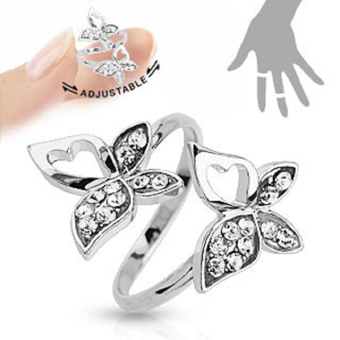 Double Butterfly Multi-Paved Gems Adjustable Rhodium Plated Brass Mid-Ring