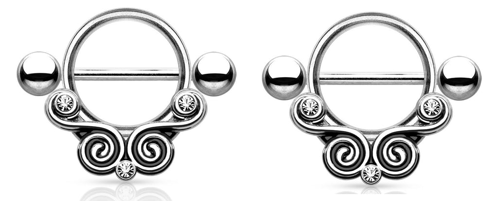 Nipple ShieldLace Swirls with Clear Gems 316L Surgical Steel Nipple Bar Pair