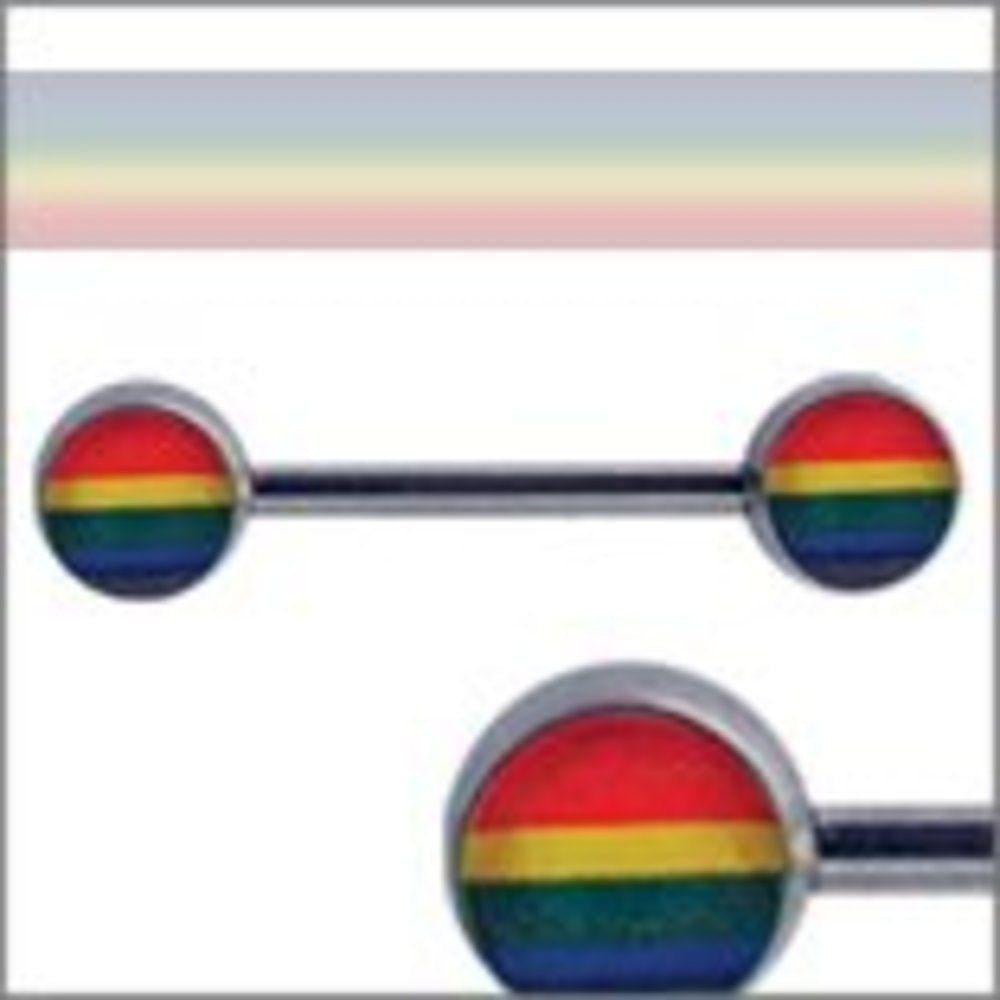 Body Accentz Nipple Ring Bars Rainbow Gay pride Body Jewelry Pair 14 gauge
