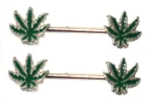 Nipple Ring Bars 14g 1/2 Forward Facing Pot Leaf Nipple Barbells