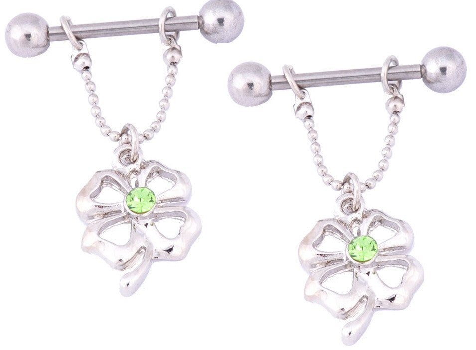 Nipple Ring Bars 4 Leaf Clover Body Jewelry Pair 14 gauge Body Piercing