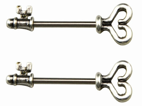 Body Accentz Nipple Ring Skeleton key bar body Jewelry sold as Pair 14g CZ
