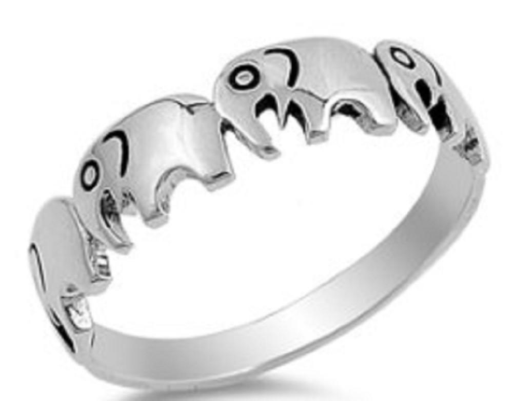 Sterling Silver Ring - Multi Elephant
