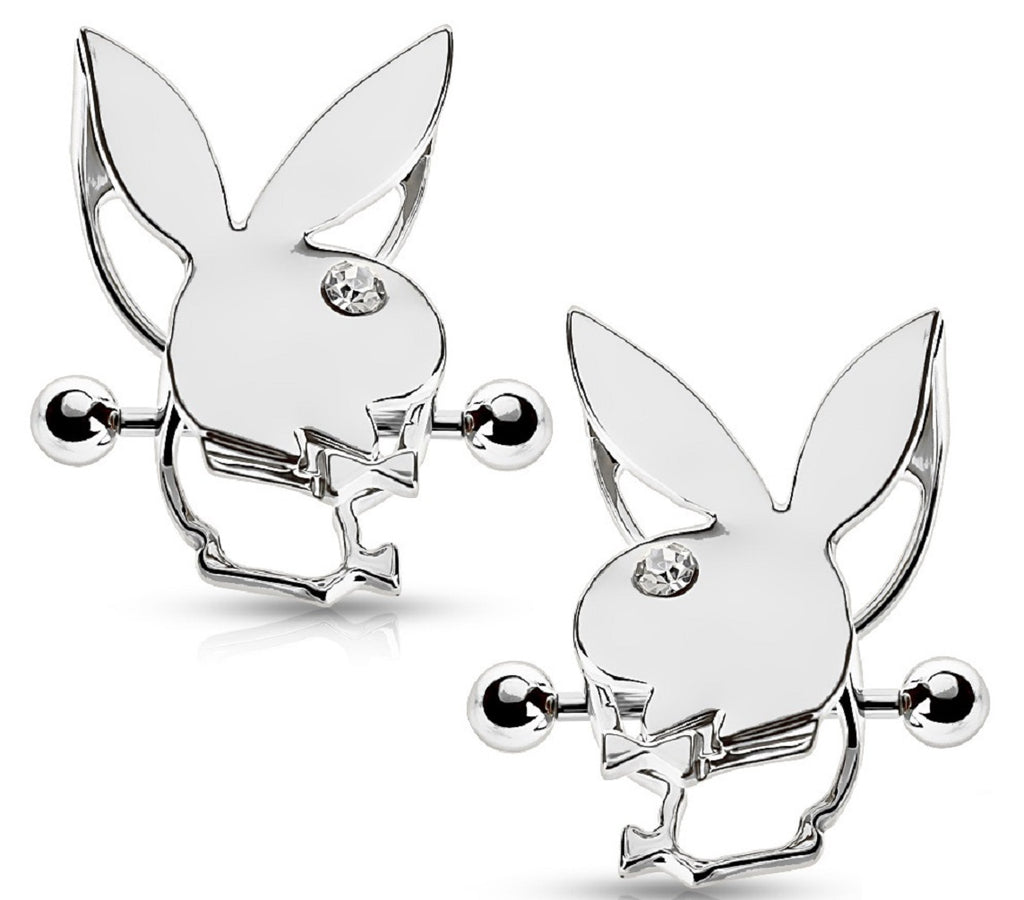 Nipple Bar Playboy Bunny Double Tier Nipple Shields Sold as a pair - Silvertone - Silvertone