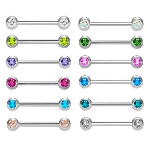 12pcs Body Piercing Nipple Ring Bar Breast Barbell Ring Jewelry