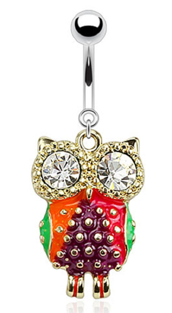 Belly Button Ring Colorful Epoxy Owl with CZ Eyes Dangle Navel Ring 316L Surgical Steel