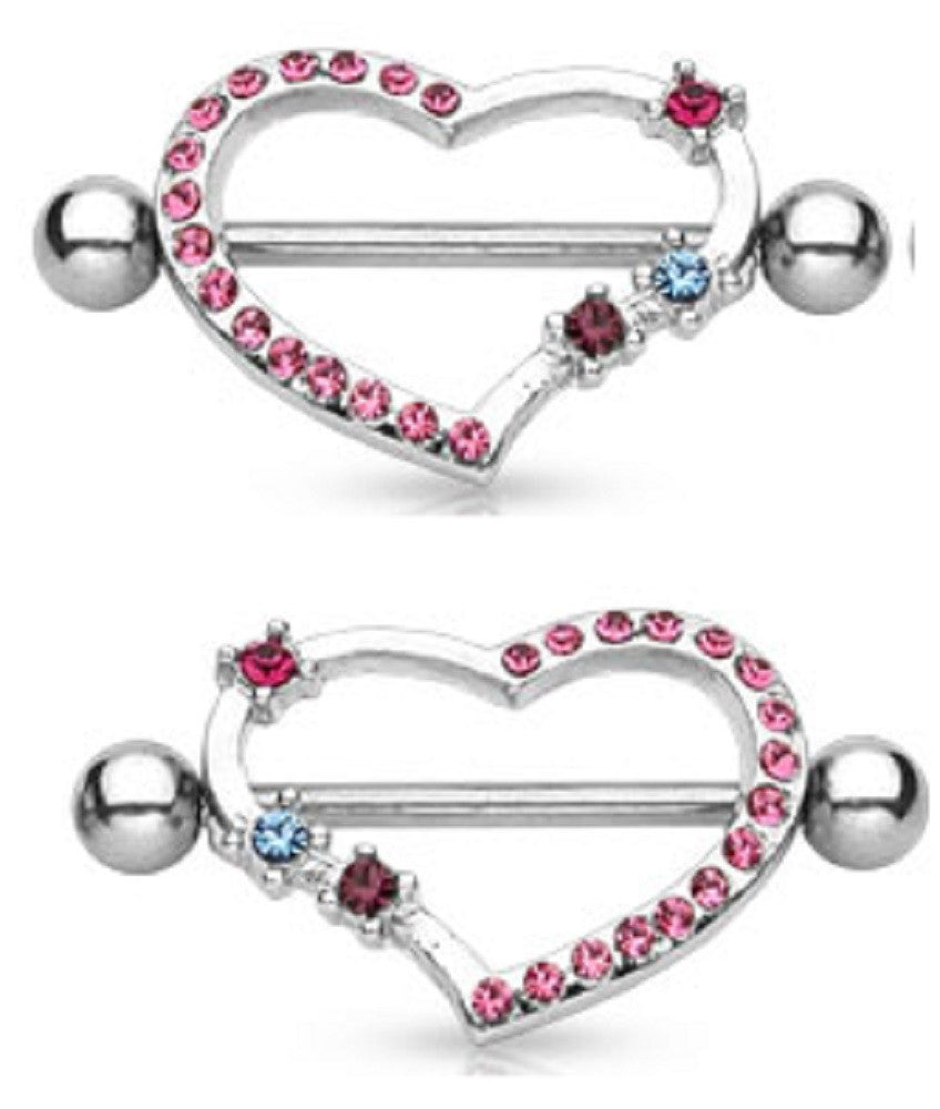 Nipple Ring CZ Fairy Dangle bar body Jewelry Pair