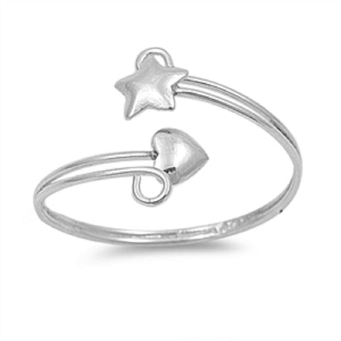 .925 Sterling Silver Toe Ring - Star Heart