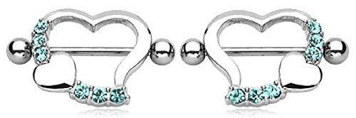 Nipple Ring Bars Heart Body Jewelry Pair 14 Gauge 7/8'' Bar [Jewelry]