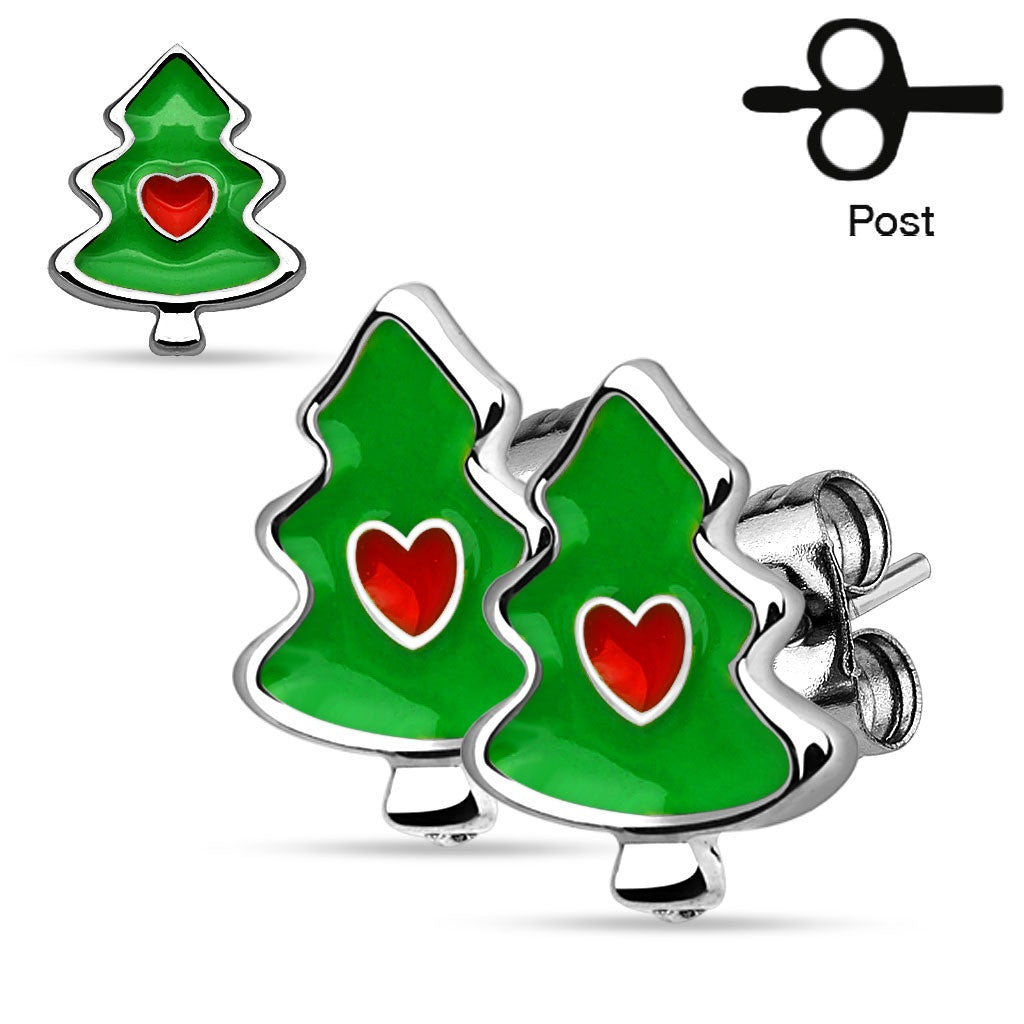 Pair of Christmas Trees with Heart 316L Stainless Steel Stud Earrings Holiday