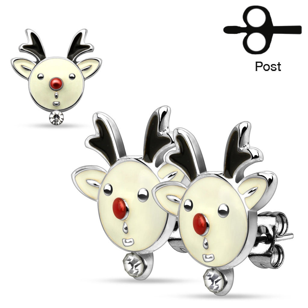 Pair of Christmas Gemmed Reindeers 316L Stainless Steel Stud Earring Holiday