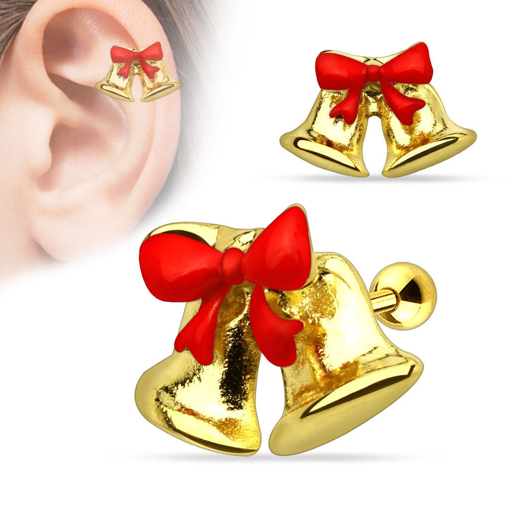 Christmas Ribbon Jingle Bells 316L Surgical Steel Tragus/Cartilage Barbell Holiday