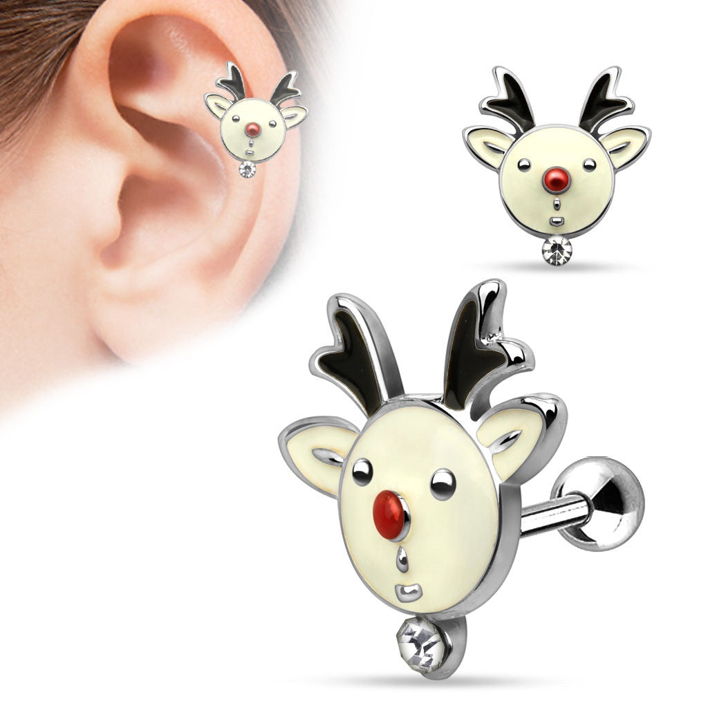 Christmas Gemmed Reindeer 316L Surgical Steel Tragus/Cartilage Barbell Holiday