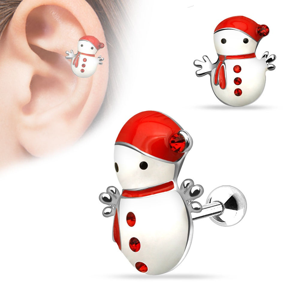 Christmas Snowman 316L Surgical Steel Tragus/Cartilage Barbell Holiday