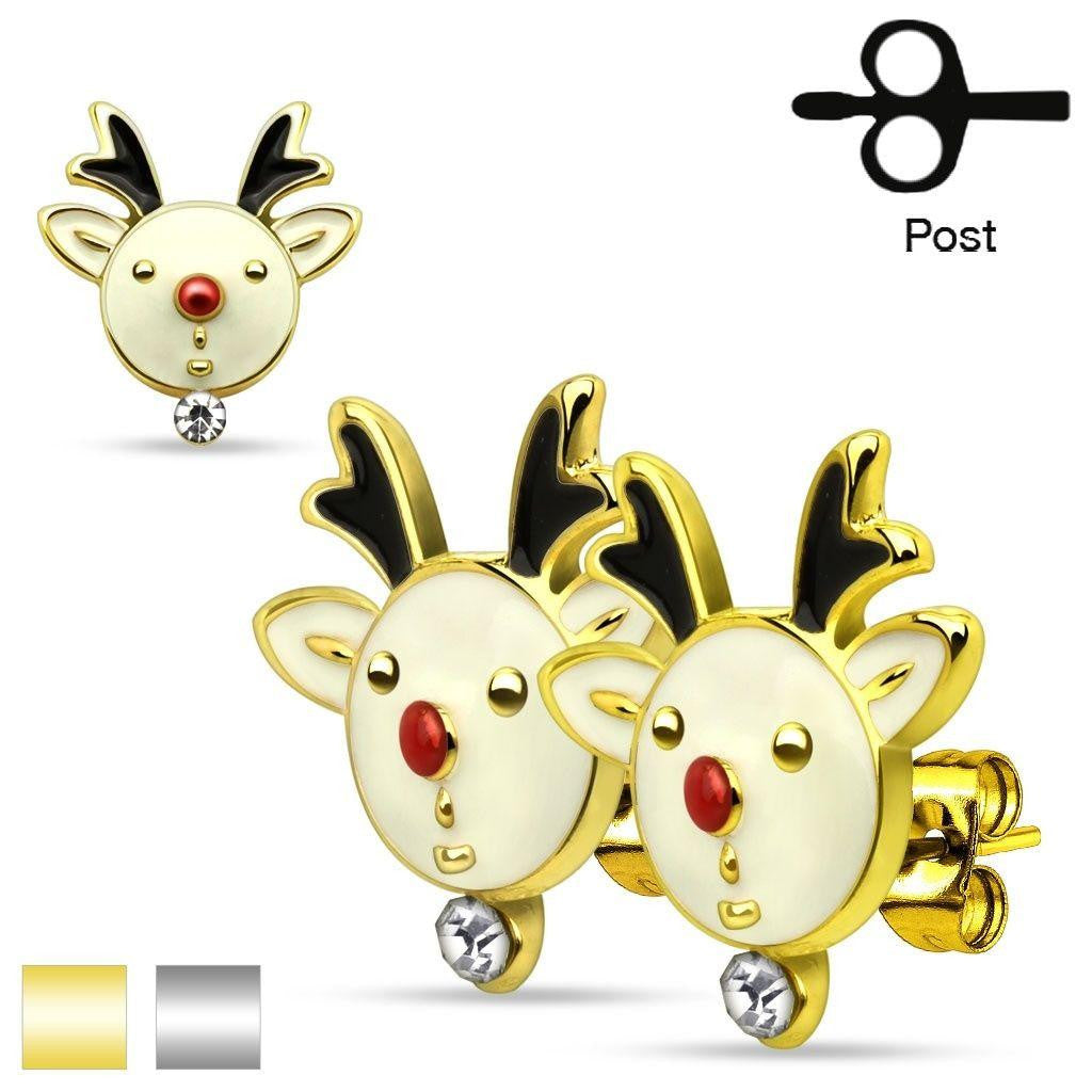 Pair of Christmas Holiday Reindeers 316L Stainless Steel Stud Earring