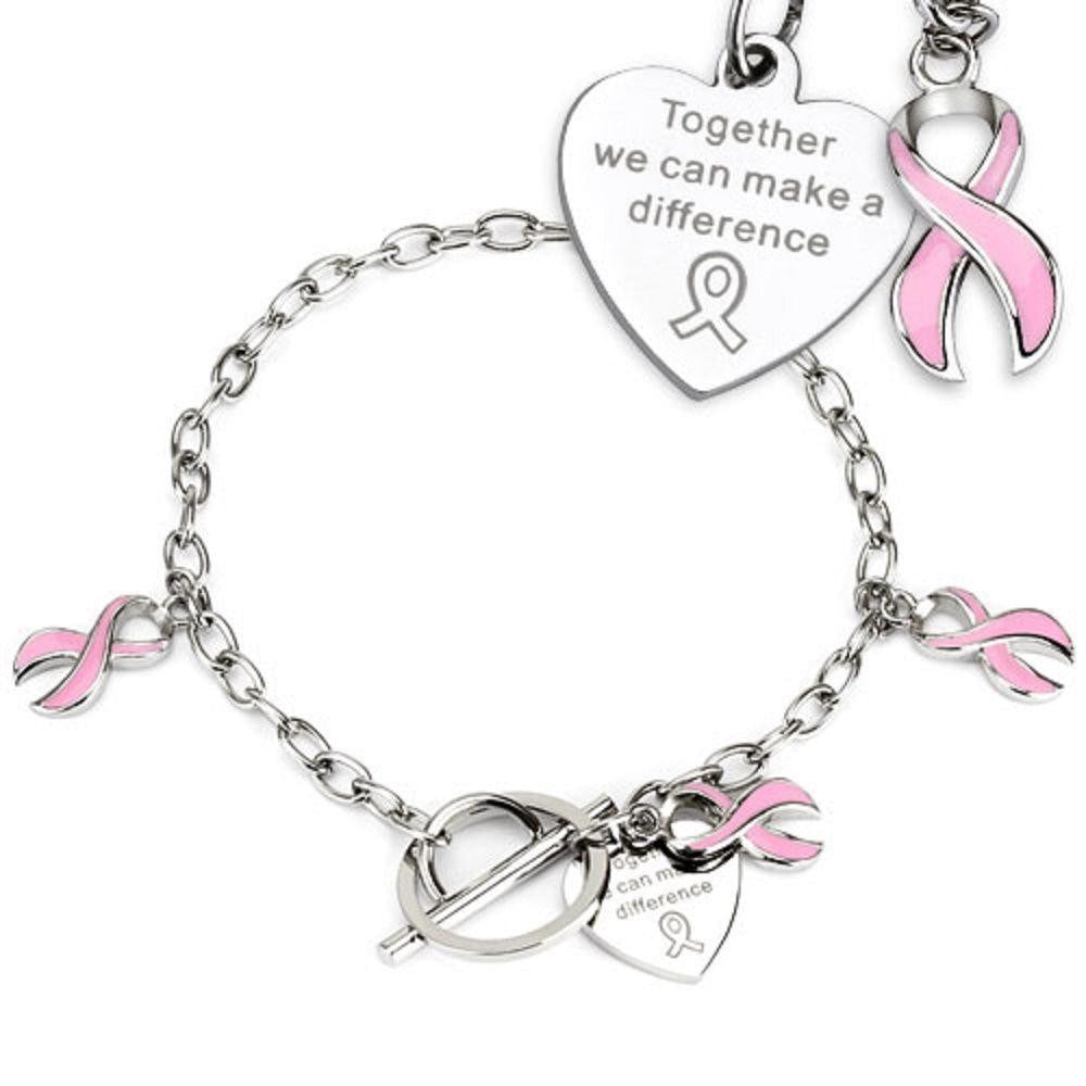 Pink Ribbon Cancer Awareness Charms on Chain Stainless Steel Bracelet