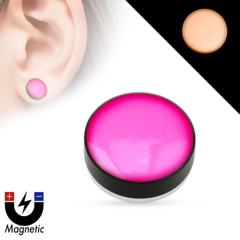 Earrings Rings Magnetic Epoxy Dome Top Black Acrylic Glow in the Dark Fake Magnetic Plug Sold as a pair