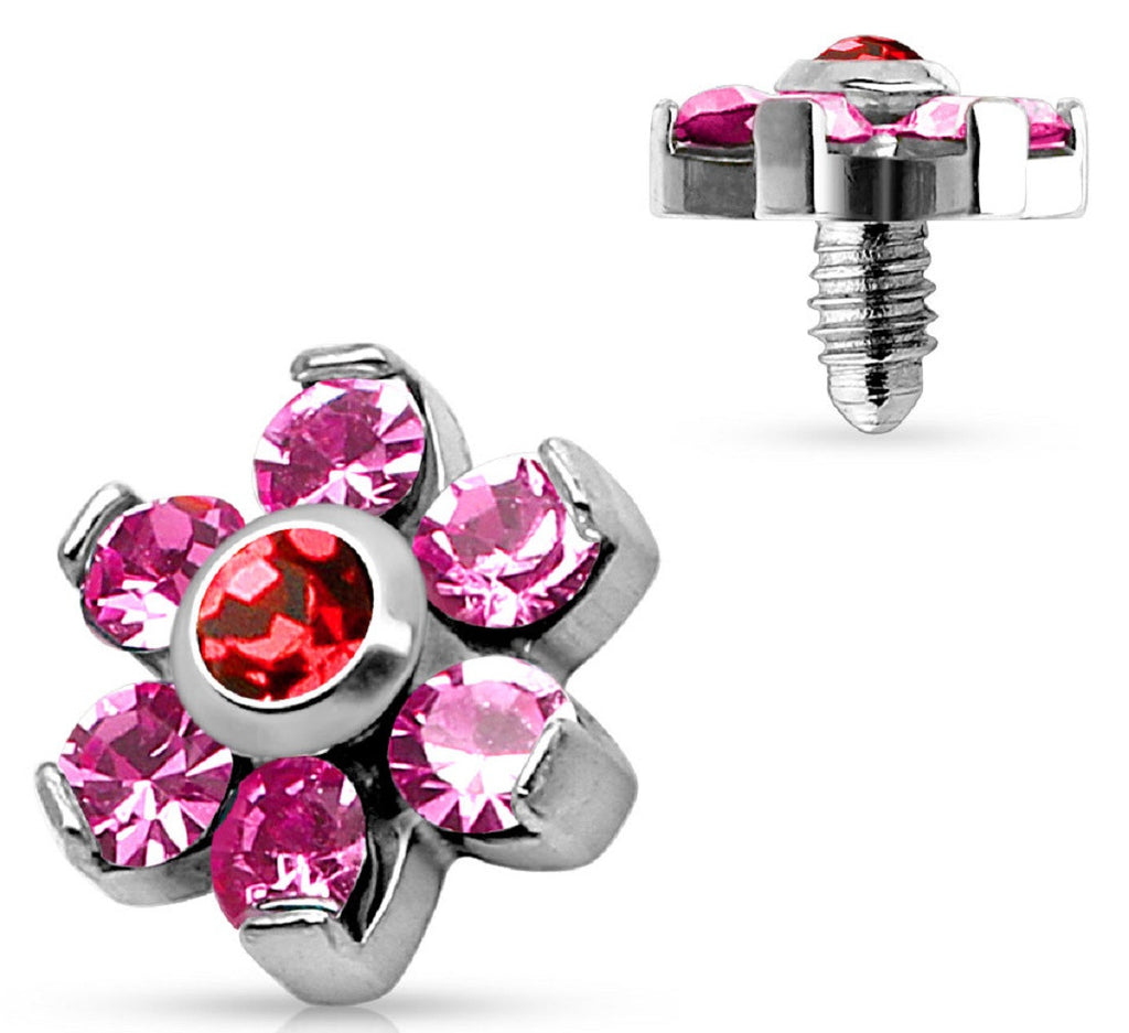Prong Crystal Flower 316L Surgical Steel Internally Threaded Dermal Anchor Top 4mm top 14g