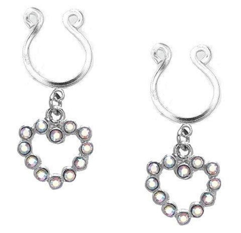 Body AccentzTM Nipple Ring Bars CZ Rhinestone Heart Dangle Non Pierce Body Jewelry Pair