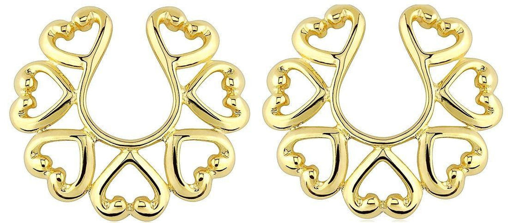 Nipple Rings non pierce Non-Piercing Clip On Gold Plate Vintage Hearts Pair