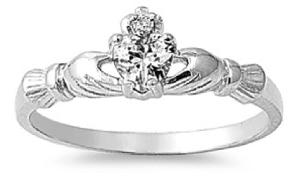 STERLING SILVER Baby RING W/CZ Faux CZ Claddagh pinky right hand