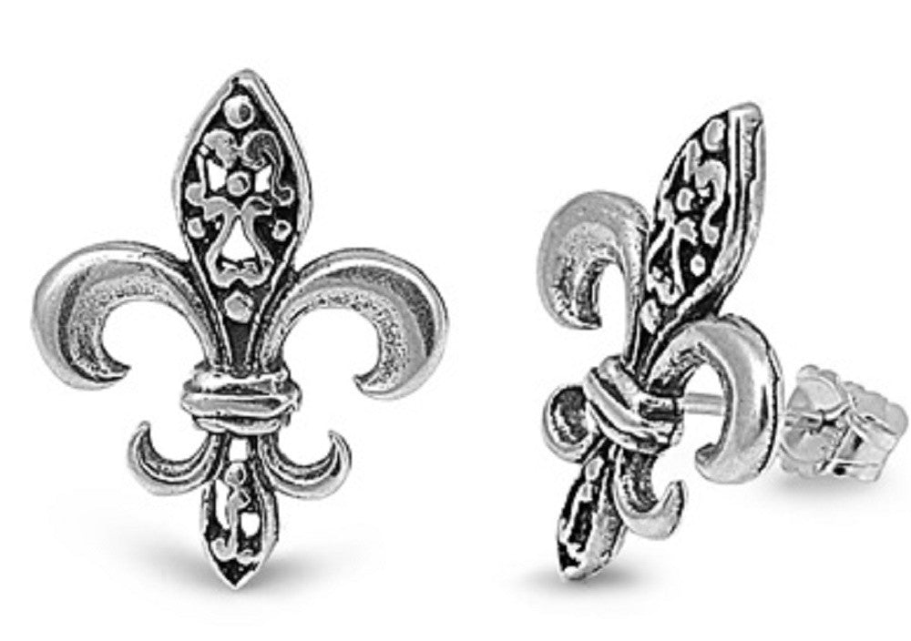 Sterling Silver with Fleur De Lis Post Earrings
