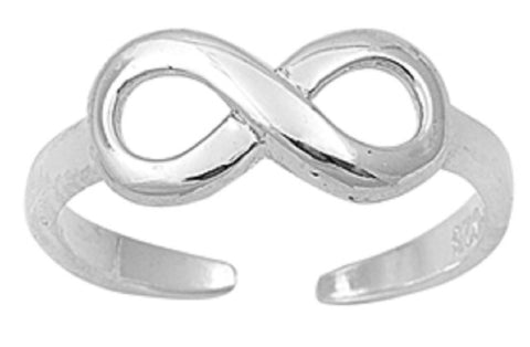 .925 Sterling Silver Toe Ring - Infinity Sign 6mm