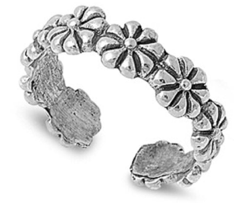 .925 Sterling Silver Toe Ring - Flower  4mm
