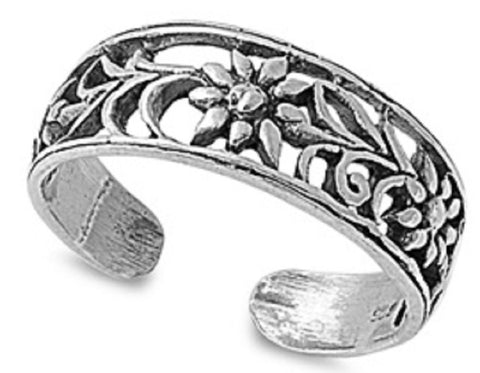 .925 Sterling Silver Toe Ring - Flower  6mm