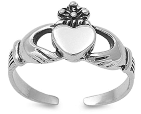 .925 Sterling Silver Toe Ring - Claddagh 8mm