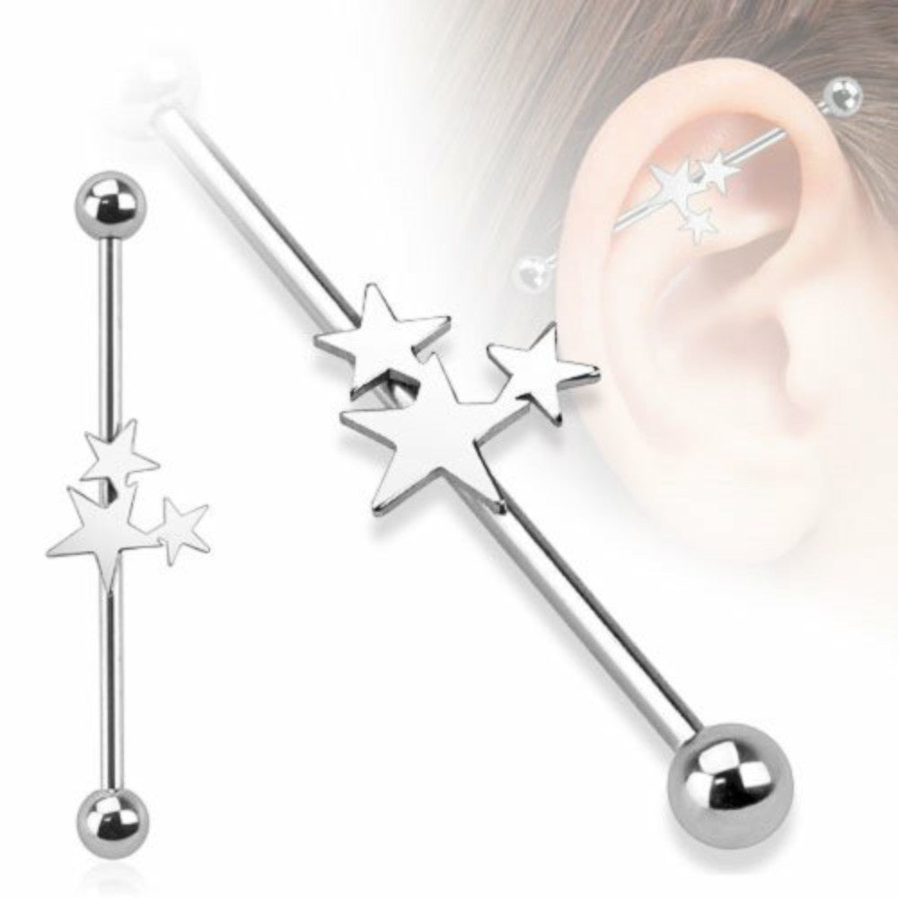 IndustriaL Bar 316L Surgical Steel Three Stars Industrial Barbell 14 gauge 1 ...