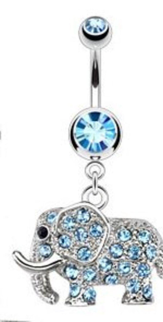 Belly Button Ring 316L Surgical Steel Multi Paved CZs Elephant Dangle Navel