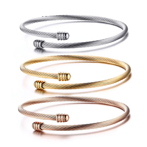 3pcs Set Trendy Bracelets for Women Stainless Steel Gold-Color Crossover Cable Wire Cuff Bangle Bracelet
