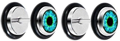 Black Human Eye Aqua Explosion Iris Cheater Plug Eyeball Fake Ear Plug 16g