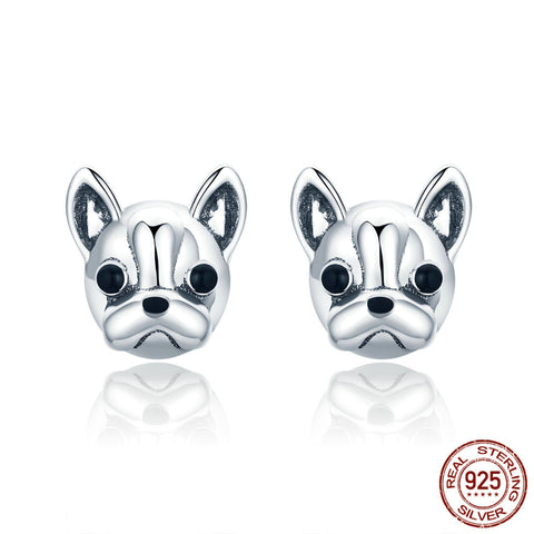 100% 925 Sterling Silver Cute Dog Earrings Fashion French Bulldog Stud Earrings for Women Fashion Jewelry Gift