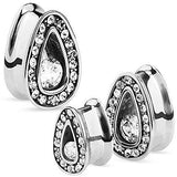 Single Set CZ with Multi Gemmed Rims 316L Surgical Steel Tear Drop Tunnel 00g...