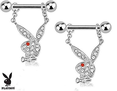 Playboy Bunny with Multi Paved Gems Dangle 316L Surgical Steel Nipple Bar