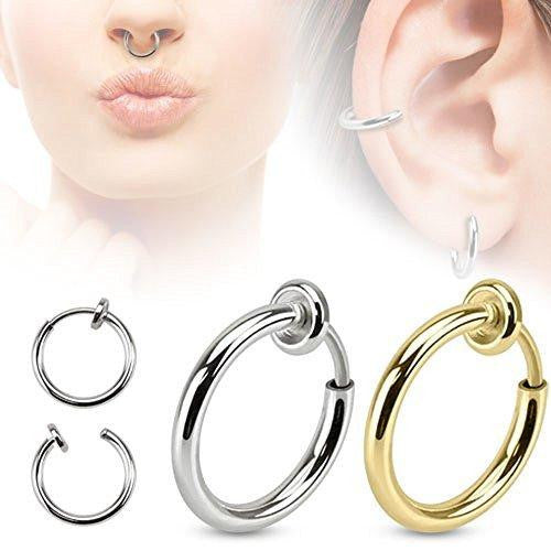 Spring Action Fake Septum Ring in Rhodium Plated Brass Sold individually