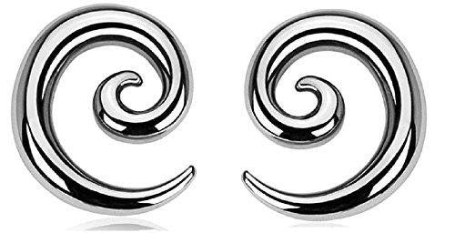 Earrings Rings 316L Surgical Steel Swirl Twist Tapers - Sold as a pair 0G