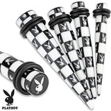 Printed Black/White Playboy Bunny Checkered Pattern Acrylic Taper Plug with O...
