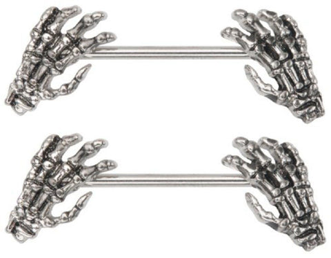 Body Accentz Nipple Ring Skeleton Hands bar body Jewelry sold as Pair 14g