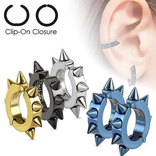 Oval Hoop Pair of 316L Surgical Stainless Steel IP Non-Piercing Clip On Earri...