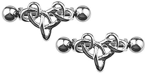 Nipple Shield Rings barbell sold as a pair 14g Tribal Shield