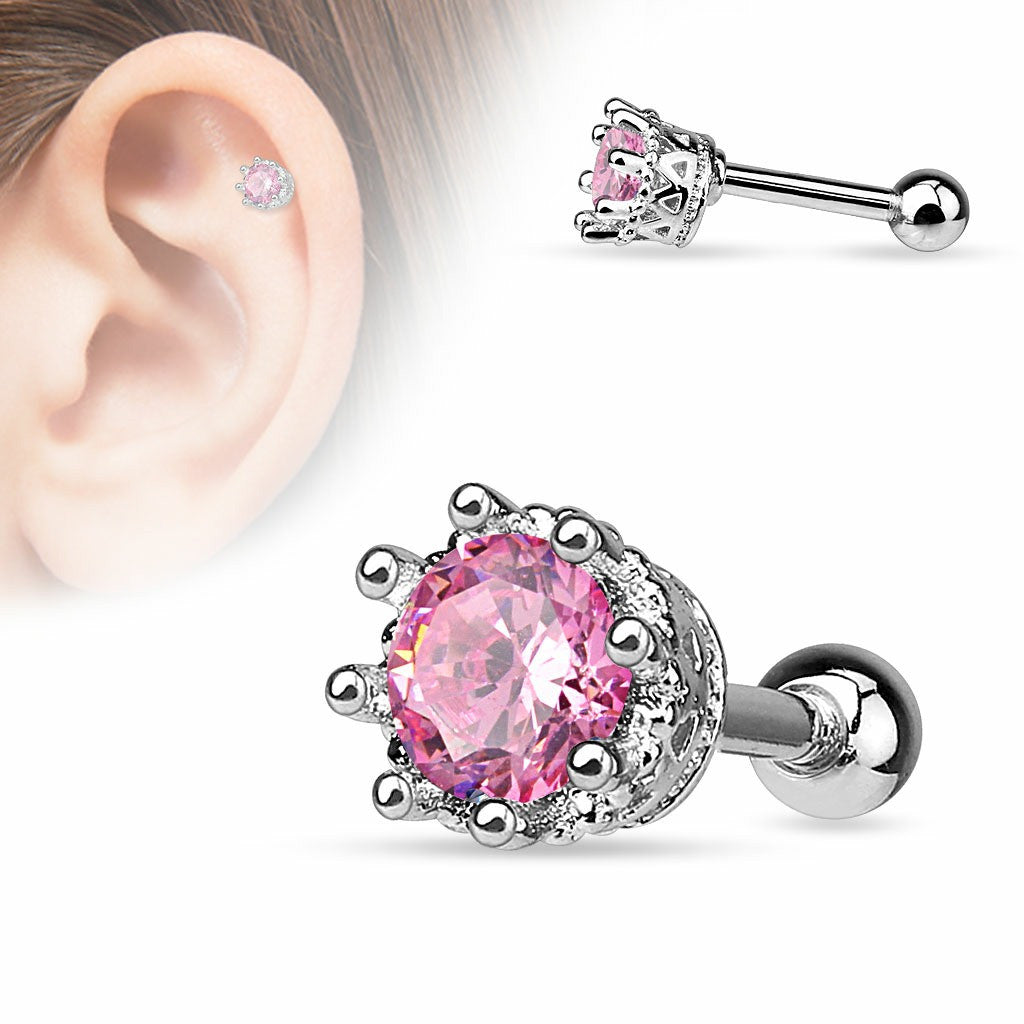 Tragus Vintage Style 8 Prong Set CZ 316L Surgical Steel Cartilage/Tragus Barbell 16g
