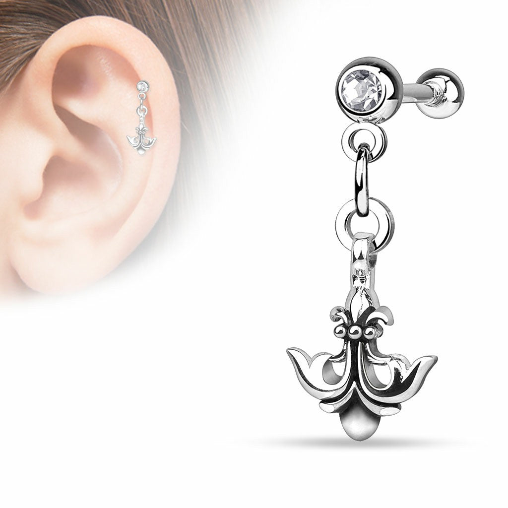 Tragus Barbell Anchor Fleur De Lis Dangle  Ball 316L Surgical Steel Cartilage Bar 16g